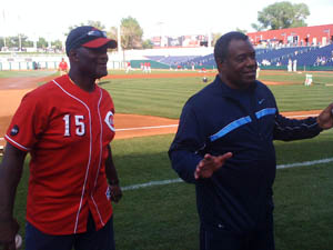 Ken Griffey and George Foster at Aces Ballpark
