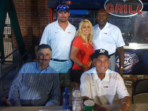 Rollie Fingers, George Foster and Bert Campaneris with TC's Courier at Aces Ballpark